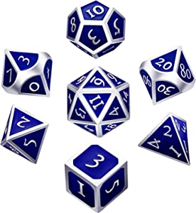 7 Pieces Metal Dices Set DND Game Polyhedral Solid Metal D&D Dice Set with Storage Bag and Zinc Alloy with Enamel for Role Playing Game Dungeons and Dragons, Math Teaching (Silver Edge Royal Blue)