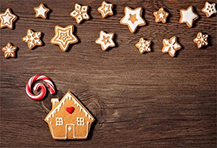 Ofila Christmas Cookies Backdrop 7x5ft Xmas Sugar Crackers Photography Background Gingerbread Lollipop Photos Wood Kids Xmas Party Preschool Baking
