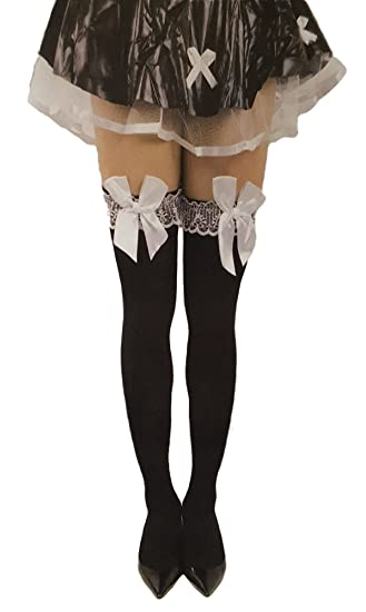 c4332970c2481a Amazon.com: Women's Black Stockings With Lace Bow Knee High Socks Halloween  Costume Accessories (Black/White Bow): Clothing
