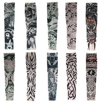 Haimoburg Juego De 10 Mangas Con Apariencia De Tatuaje Temporales