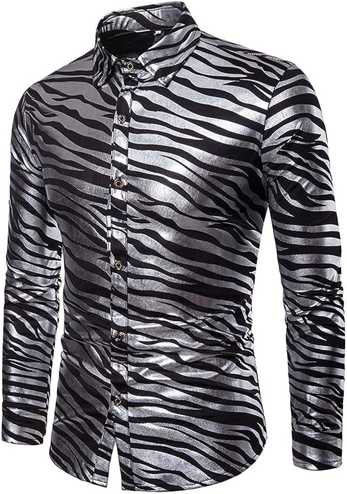 para Hombre Rayas De Cebra Dos Tonos Estampación En Caliente La Solapa Camisa Manga Larga Negro S: Amazon.es: Ropa y accesorios