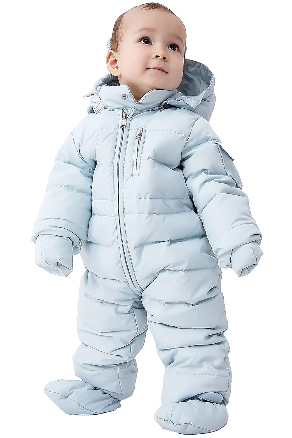 f69584035 Amazon.com  OCEANKIDS Baby Boys  Pram One-Piece Snowsuit Attached ...