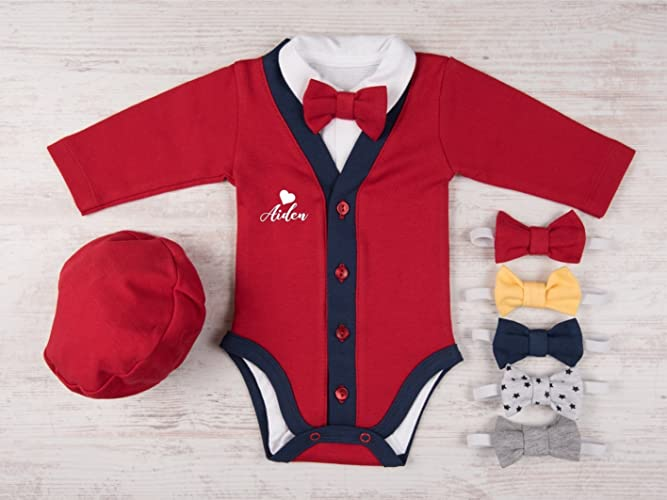 Amazon Com Valentine S Day Baby Boy Outfit Heart Personalized Red