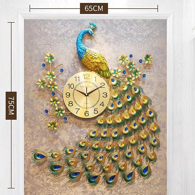 AUGIENB Modern Wall Clock Digital Luxury 3D Crystal Quartz Peacock Art Decor