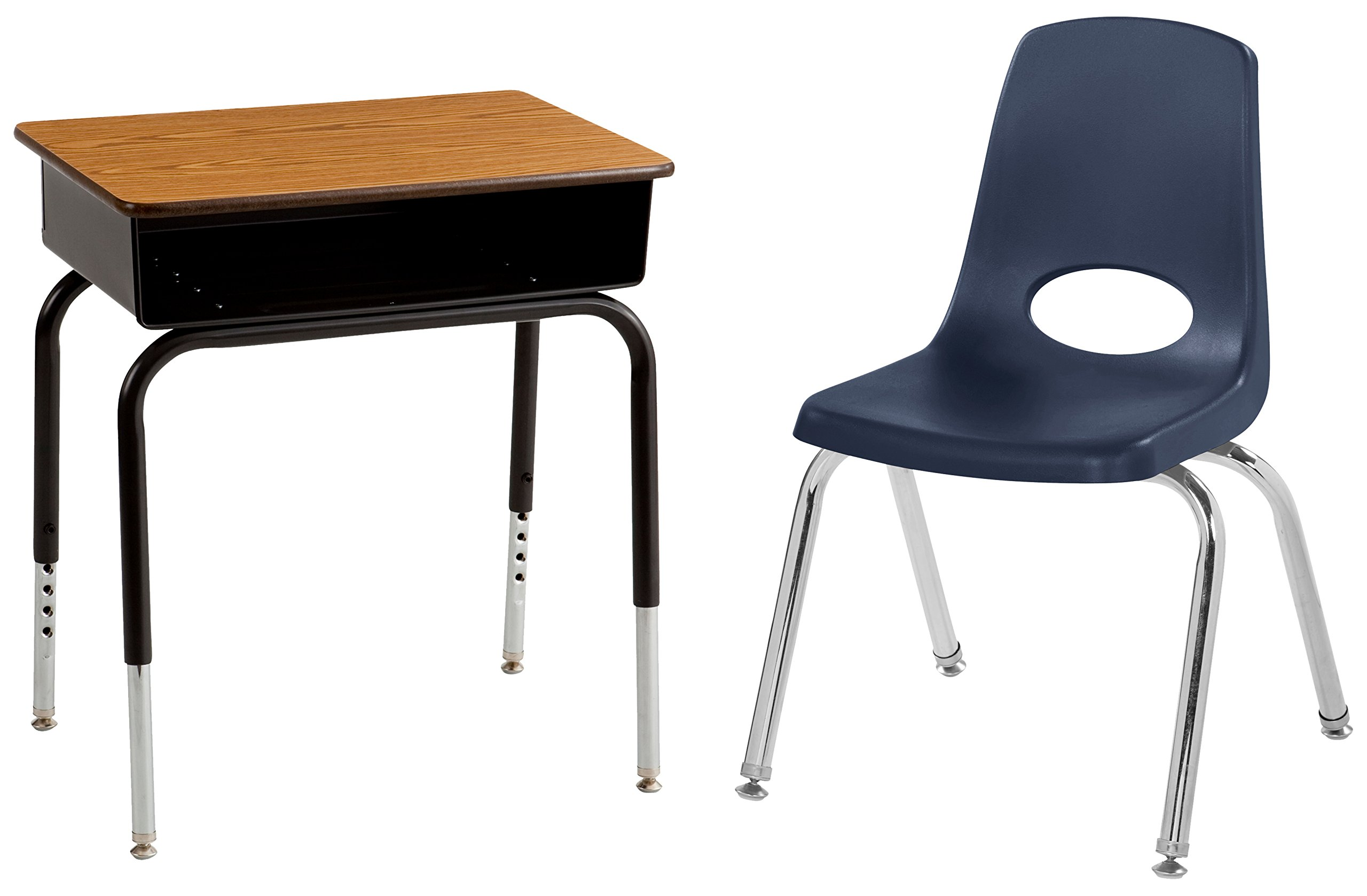 ECR4Kids Open Front Desks with Metal Book Box and School Stacking Chair Package, Adjustable Height, Navy Seats with Swivel Glides