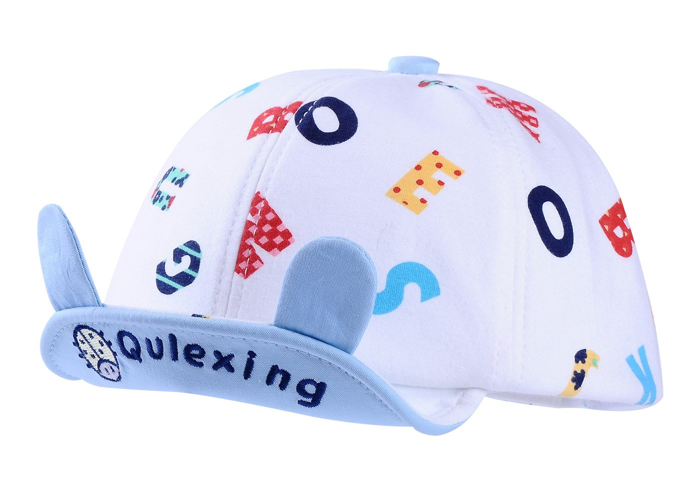 Qulexing 6-12 Months Unisex Toddler Baby Outdoor Adjustable Soft Brim Baseball Hat with Ears Letters Printed Sun Protection Cap Blue