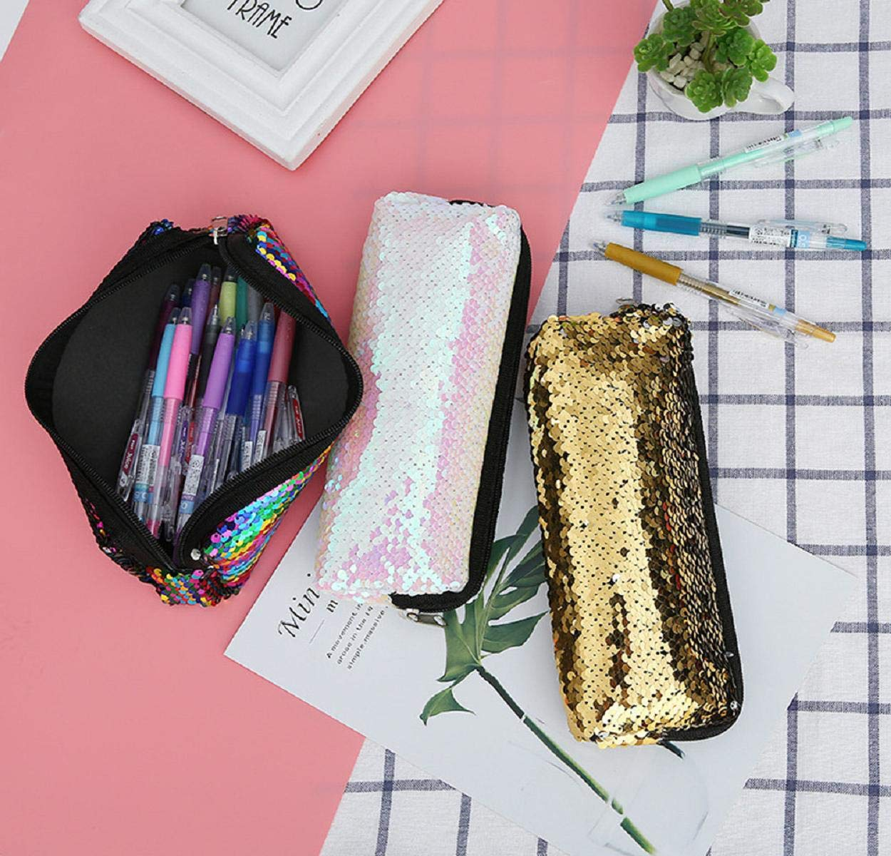 Boddenly Pencil Bags - Pencil Pouch Organizers for Home and Office, Ideal for Students, Travel Cosmetic Makeup Bag for Women, 6 Designs by Boddenly (Image #5)