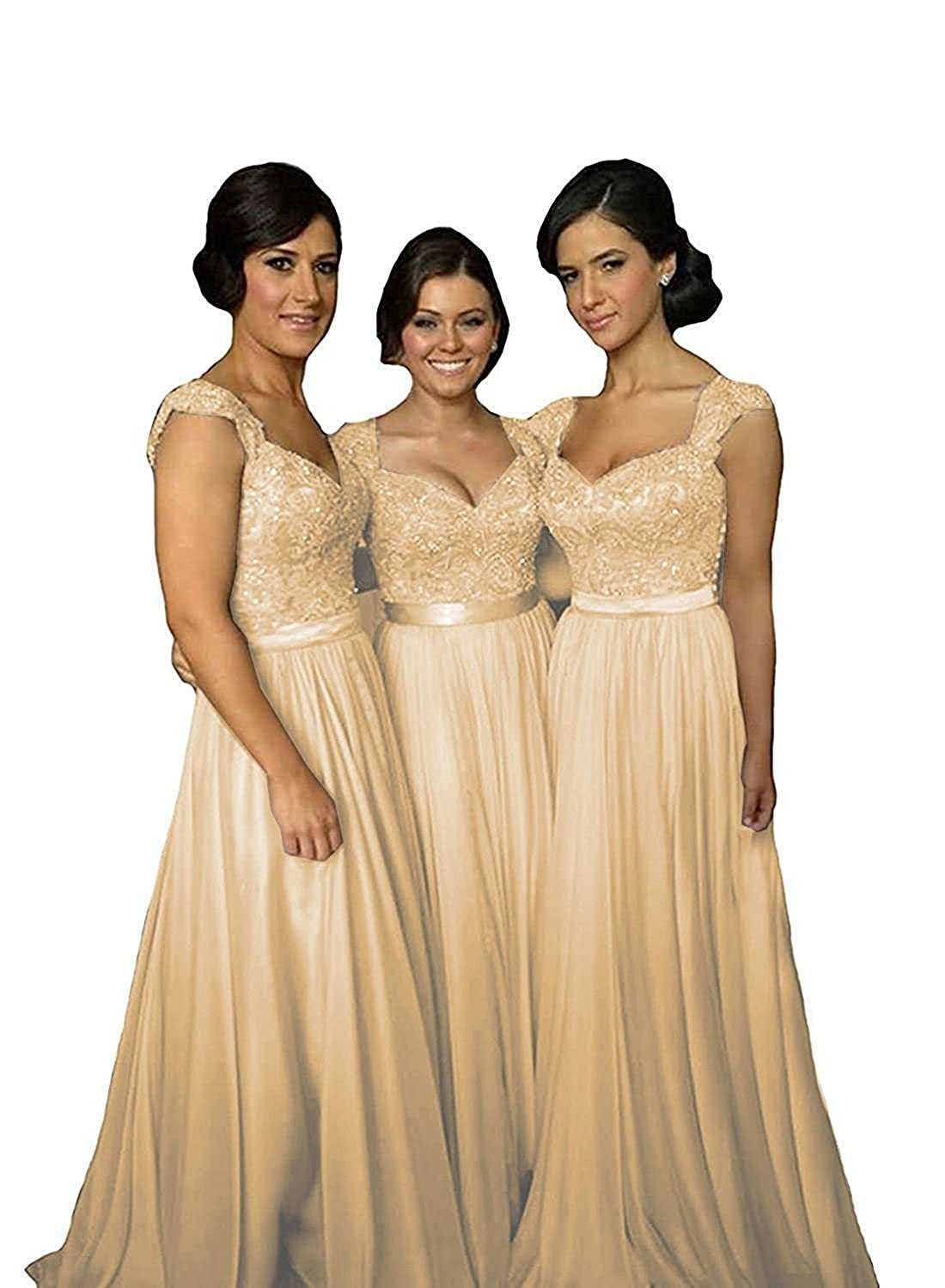 Champagne Future Girl Women's Lace Bridesmaid Dresses Cap Sleeve Long Wedding Party Gowns
