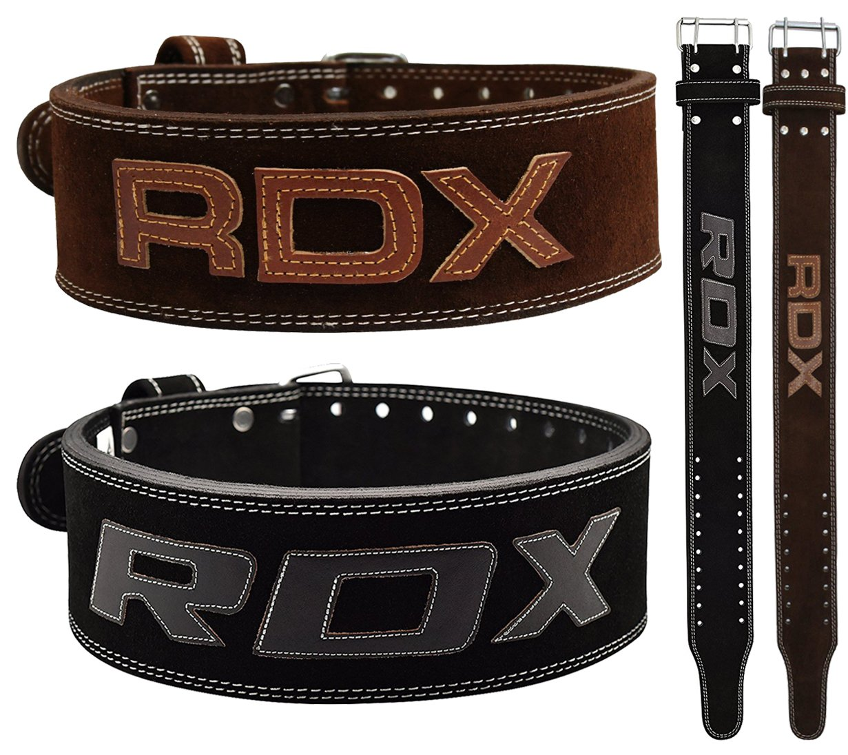 RDX Powerlifting Belt for Weight Lifting Gym Training – Double Prong Leather Belt 10mm Thick 4 Lumbar Back Support – Great for Strongman Functional Strength, Bodybuilding, Deadlifts Workout Squats