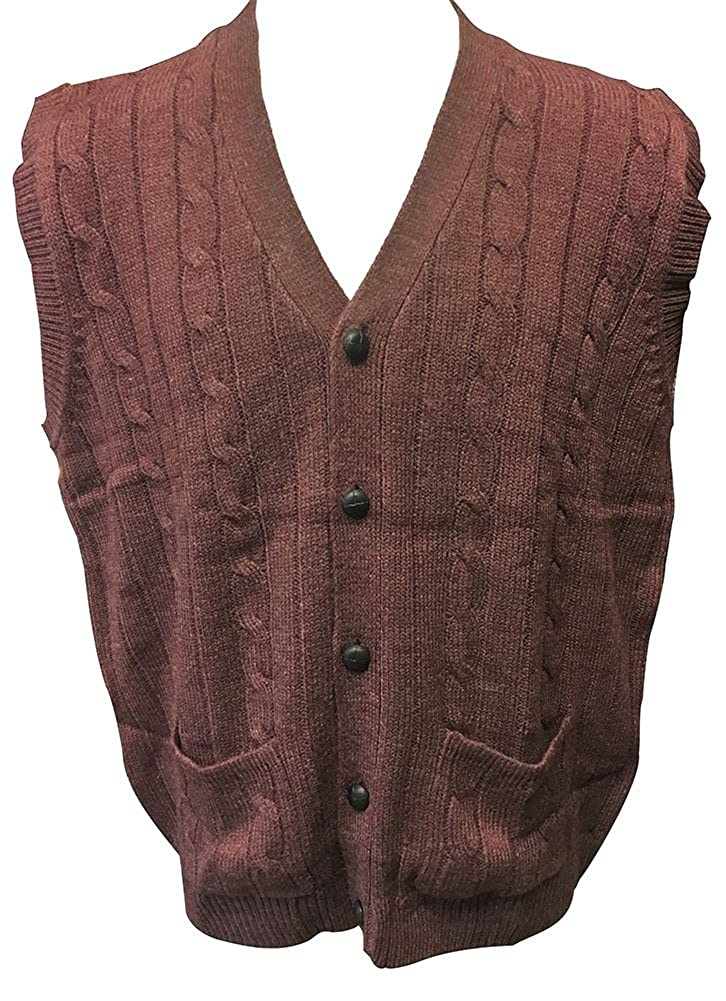 D'Avila 100% Acrylic Big and Tall Sleeveless Cable Knit Cardigan Vests