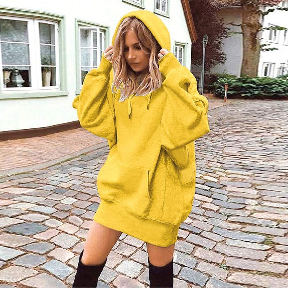 Liouhuble Women Solid Color Clothes Hoodies Pullover Coat Hoody Sweatshirt