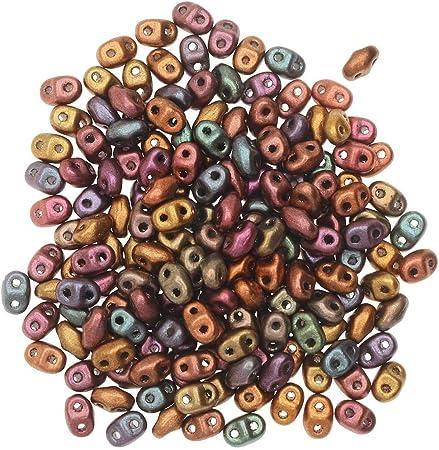 Mini Duo de cristal checo, cuentas de semillas de 2 agujeros 2 x 4 mm, tubo de 8 gramos, arco iris violeta de cristal