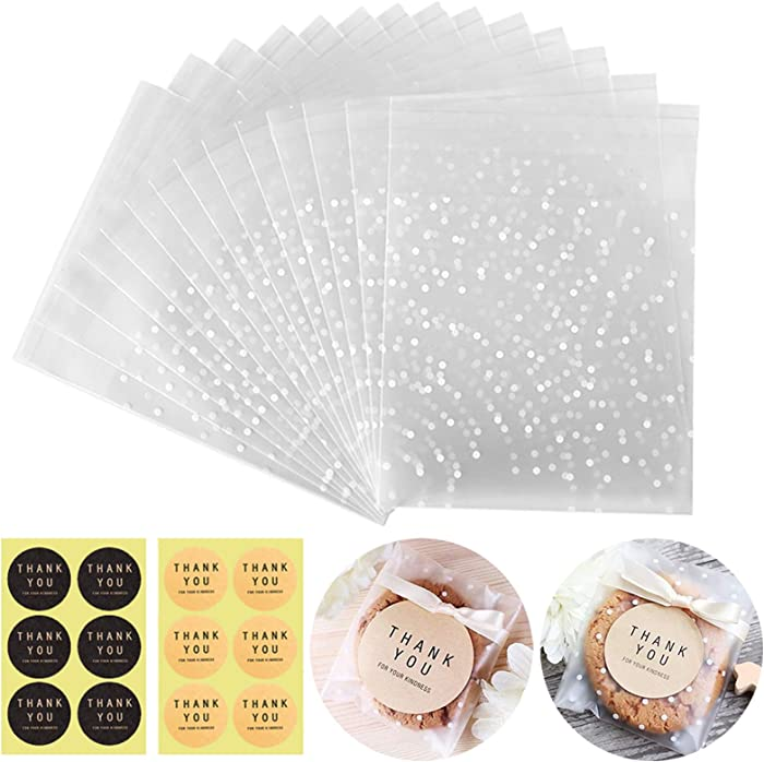 Self Sealing Cookie Bags Cellophane Treat Bags, Searik White Polka Dot Party Pastry Candy Bags For Cookie Wedding Party Gift Giving 100 Bags with 100 Thank You Labels (5.5 x 5.5 inches, 100 Pcs)