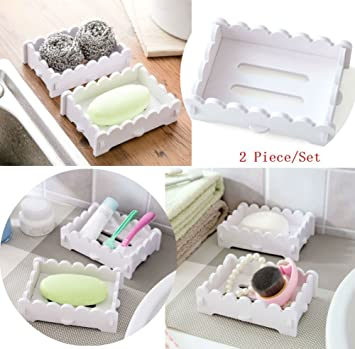Akoak 2 Stück Umweltfreundliche Geschmacksneutral PVC Holz Kunststoff  Teller Weiß Seifenschale Badezimmer Dusche Seifenschale Tablett Aufbewahrung