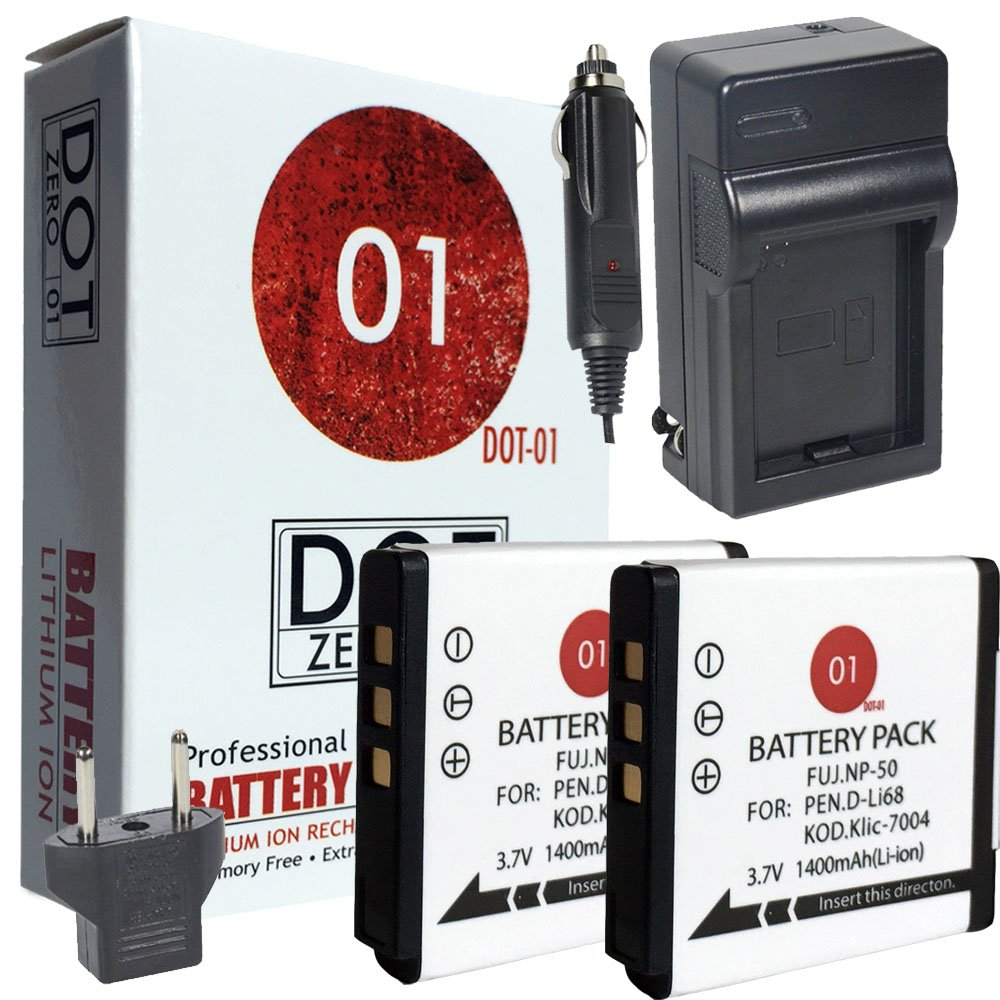 DOT-01 2X Brand Fujifilm Square SQ10 Batteries and Charger for Fujifilm Square SQ10 Instant Camera and Fujifilm SQ10 Battery and Charger Bundle for Fujifilm NP50 NP-50 by DOT-01 (Image #1)