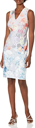 Calvin Klein Women's Sleeveless V-Neck Sheath with Pearl Detailed Floral Motif