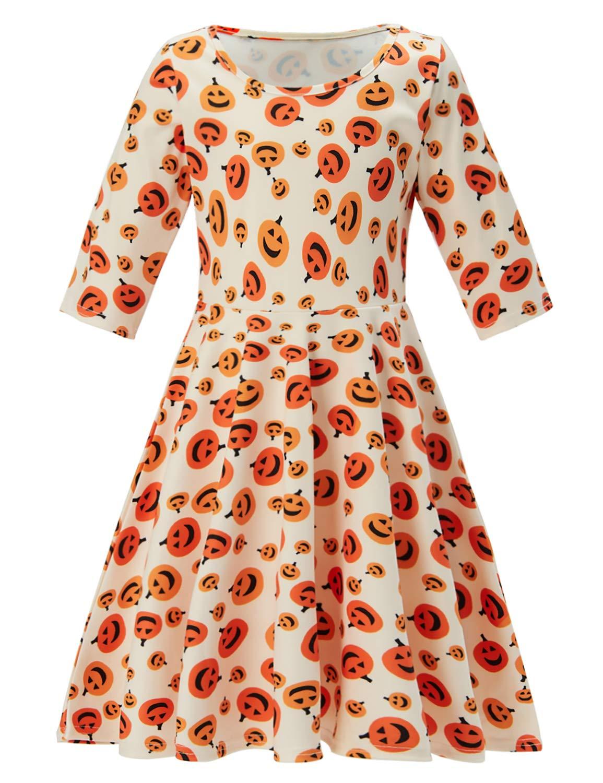 Idgreatim Girl Print Dress 3/4 Sleeve Casual Pumpkin Ghost Candy Sundress for Halloween Party 6-7T