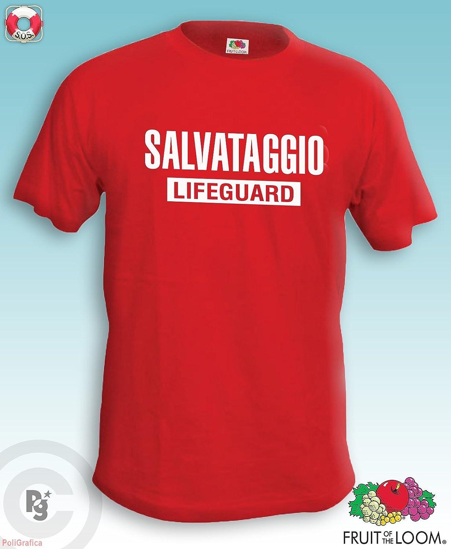 Lifeguard Fruit Of The Loom T-shirt de Ma/ître-nageur avec inscription Salvataggio