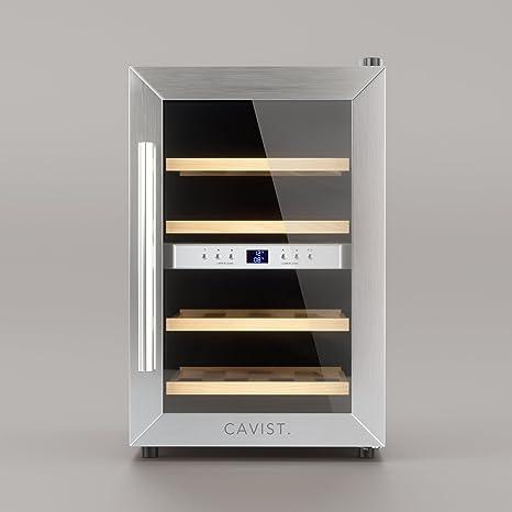 CAVIST CAVIST12 Weinkühlschrank / 12 Flaschen / 34L Kapazität / 4 Regale  aus Holz / 7°C bis 18°C / silber