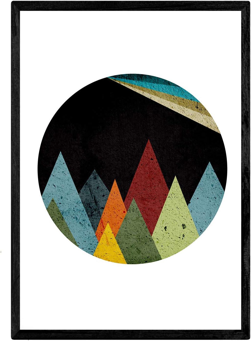 Nacnic Lámina para enmarcar MONTAÑAS Espacio Estilo geométrico Regalos creativos de la Naturaleza. Laminas para enmarcar o Regalar. Papel 250 Gramos