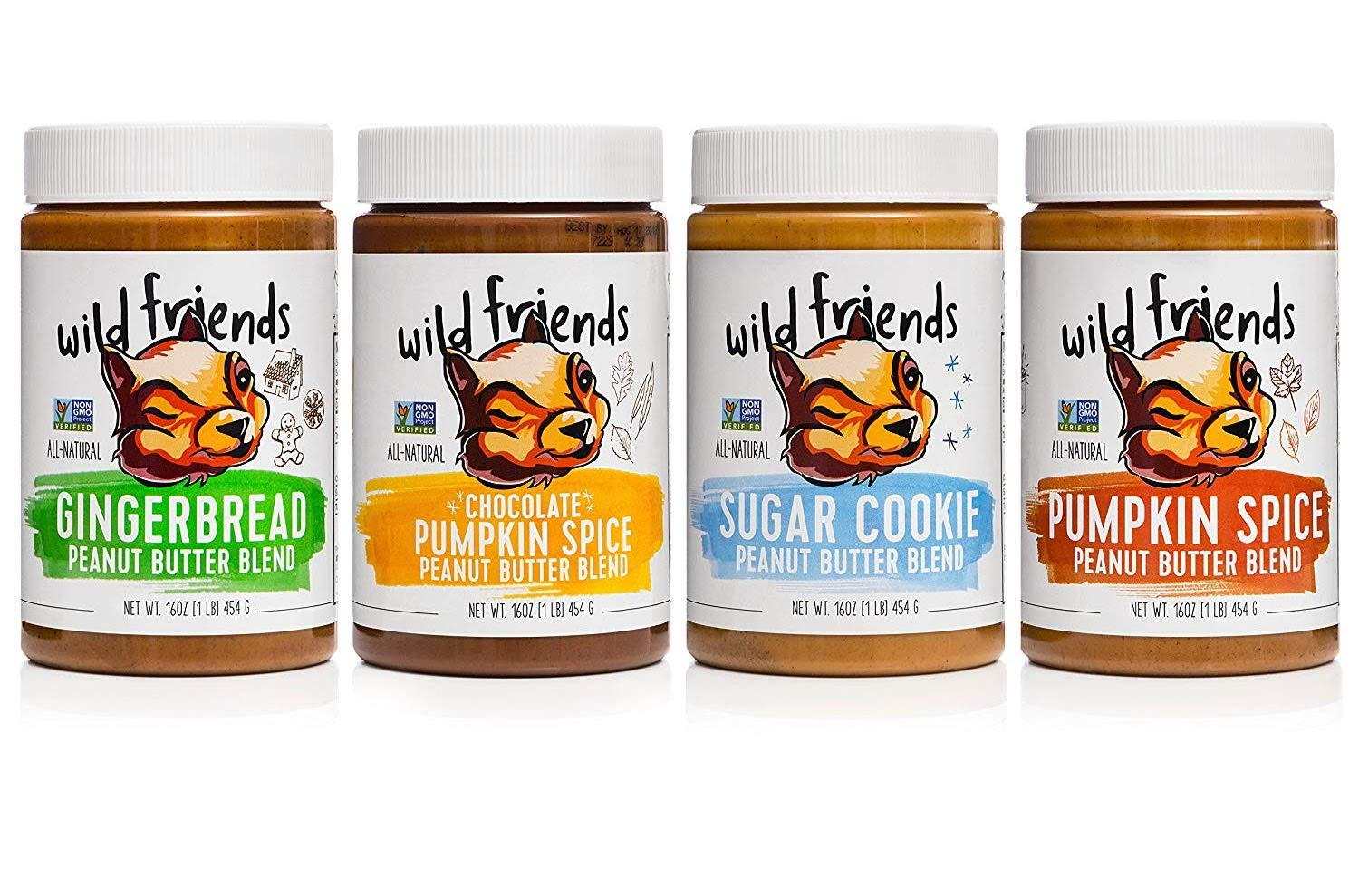 Wild Friends Foods All Natural Peanut Butter Variety Pack, Sugar Cookie, Gingerbread, Pumpkin Spice, Chocolate Pumpkin Spice, 16oz, Pack of 4