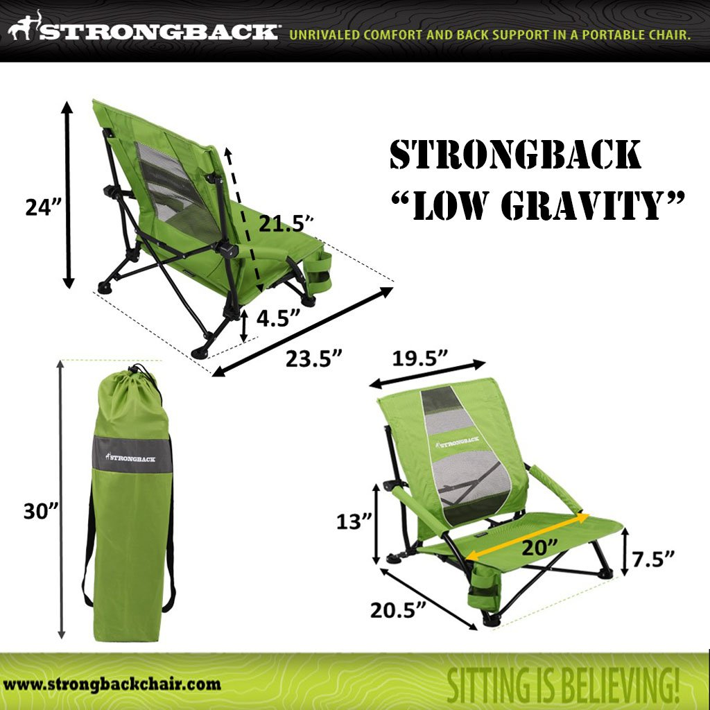 STRONGBACK Low Gravity Beach Chair with Lumbar Support, Blue by STRONGBACK