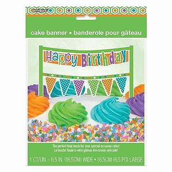 Torta de cumpleaños Feliz cumpleaños multicolor: Amazon.es ...