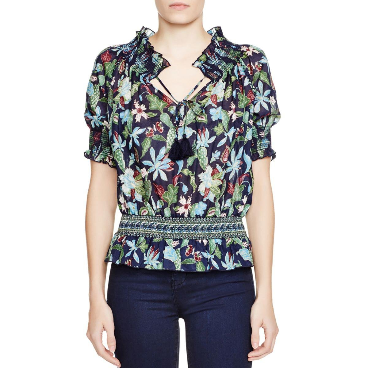 Tory Burch Womens Cotton Floral Print Peasant Top Navy 10