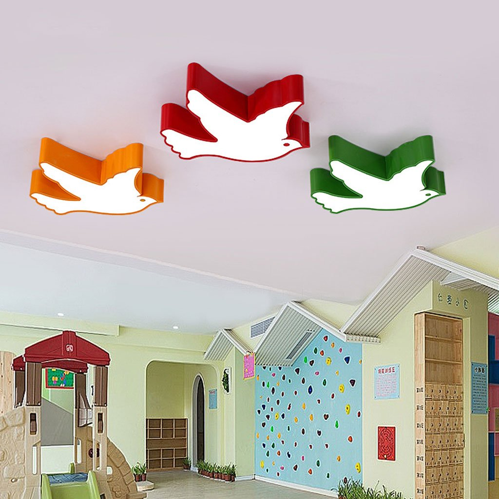 Ceiling light Children's room Flying birds modern boy girl bedroom Cartoon Mother and baby Children's clothing shop classroom ( Color : Green , Size : B )