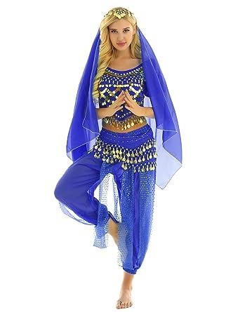 ranrann Disfraz Danza del Vientre para Mujer Lentejuelas Vestido ...