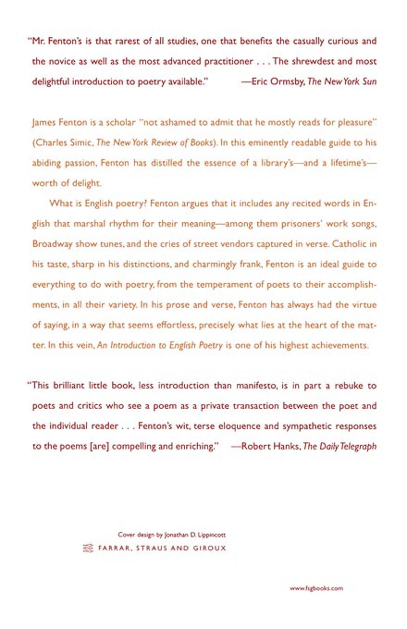 INTRODUCTION TO ENGLISH POETRY: James Fenton: 9780374528898: Amazon