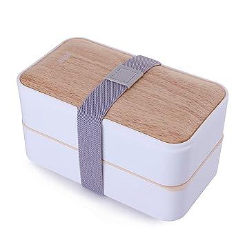 Caja para el almuerzo de Mercier, a prueba de goteo, con juego de cubiertos: Amazon.es: Hogar