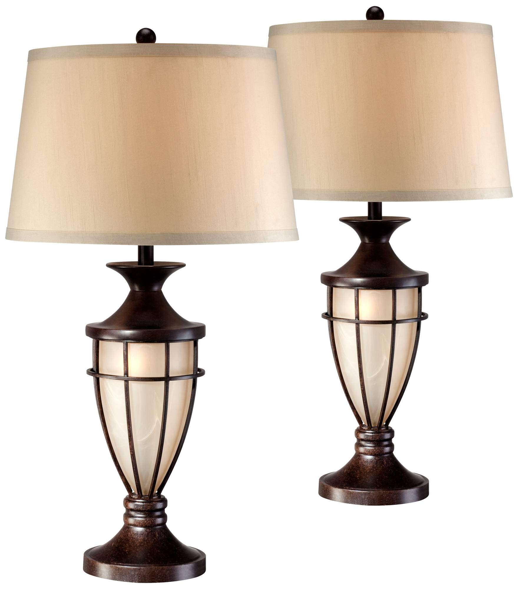 Traditional Table Lamps Set of 2 with Nightlight Lantern Brushed Iron Cage Beige Fabric Shade for Living Room - John Timberland