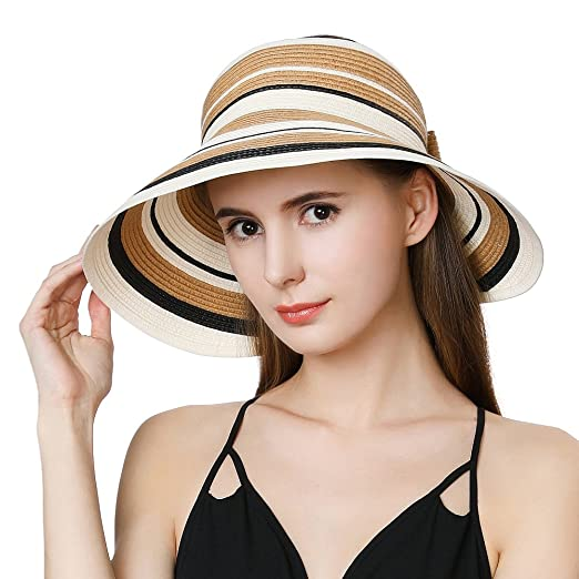 Jeff   Aimy Ladies Wide Brim Straw Visor Sunhat UV Protection SPF 50 Packable  Beach Accessories 93d5d49feb52