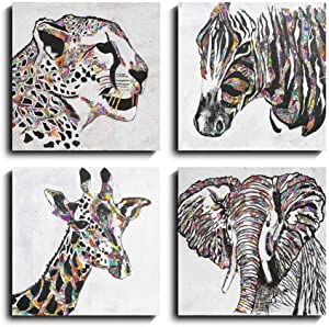 Sweety Decor Tropic Animal Portait Wall Art for Home Living Room Decoration (Multi, 12x12in)
