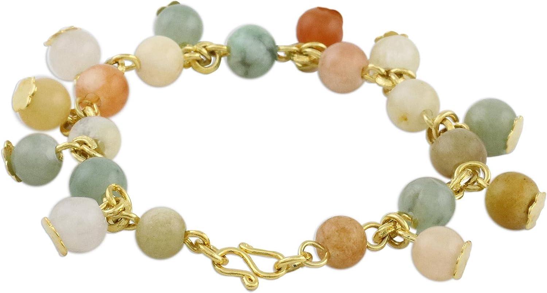 NOVICA Quartz and Jade 18k Gold Plated Link Bracelet, 7.5