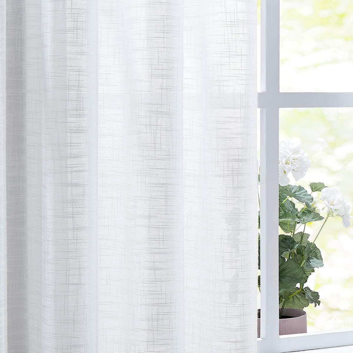 "Fmfunctex White Sheer Curtains for Living Room Bedroom Linen Textured Window Curtain Set 84-inch Long 52""w 2 Panels Grommet Top"
