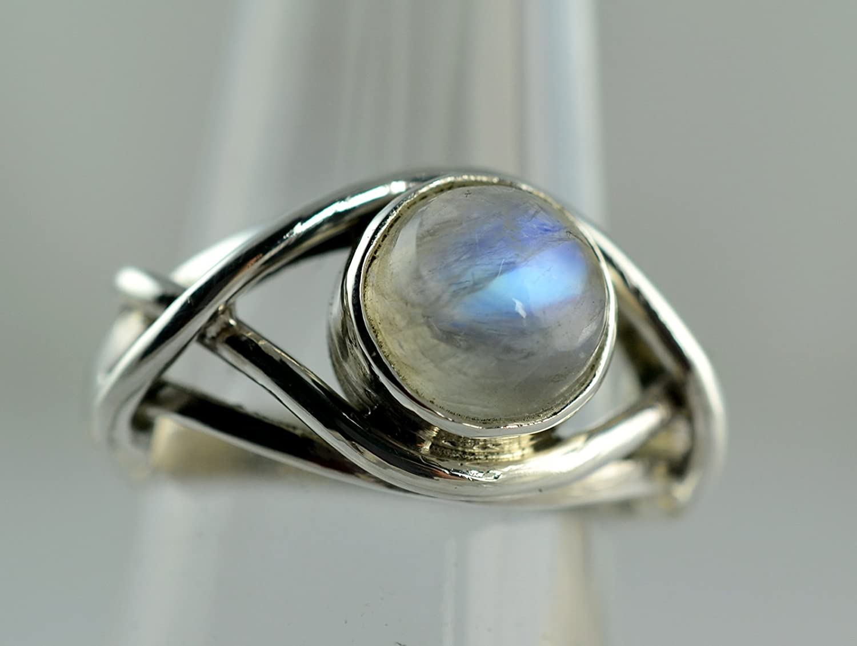 Amazon.com: Rainbow Moonstone Silver Ring, Rainbow Moonstone ...