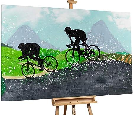 Kunstloft® Extraordinario Cuadro al óleo Cycling in The Hills 180x120cm   Original Pintura XXL Pintado a Mano sobre Lienzo   Deportes Bicicleta Multicolor   Mural de Arte Moderno: Amazon.es: Hogar