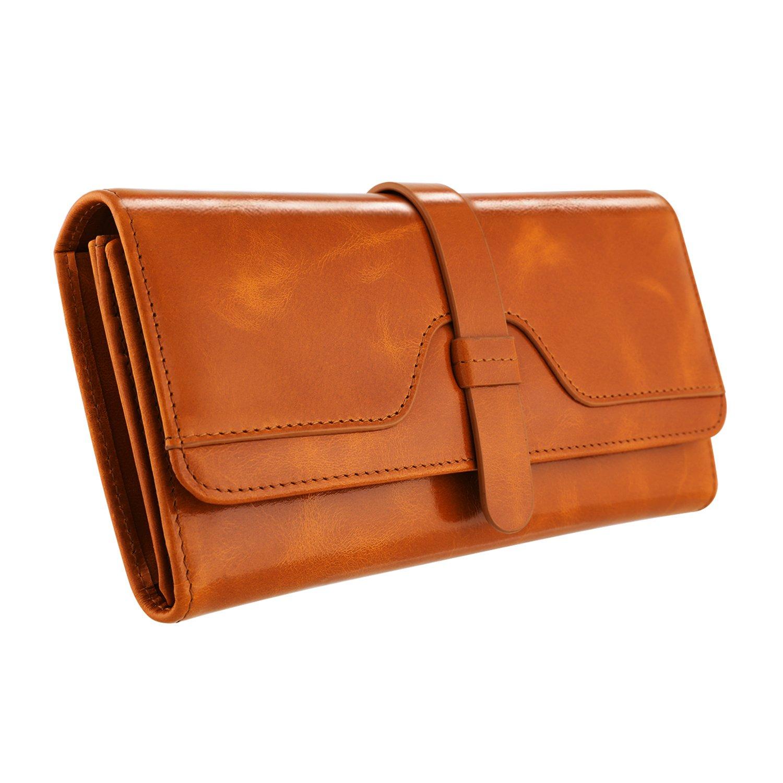 Kattee Vintage Women's RFID Blocking Genuine Leather Trifold Wallet (Brown)