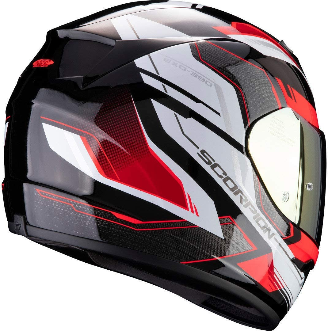 Schwarz//Blau Scorpion Motorradhelm EXO-390 BOOST Matt Black-Silver-Blue XS