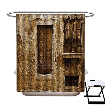 Amazon.com: Cortina de ducha rural de paisaje de la ventana ...