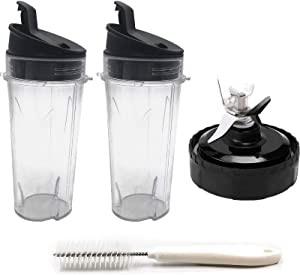 Blender Blade 6 Fins and 16oz Single Serve Cup Set, Replacement Parts Compatible with Ninja BL660 BL770 BL780 BL740 Professional Blenders
