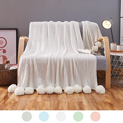 Amazon ZHIMIAN Reversible 40% Cotton Knit Throws Pompoms Stunning White Pom Pom Throw Blanket