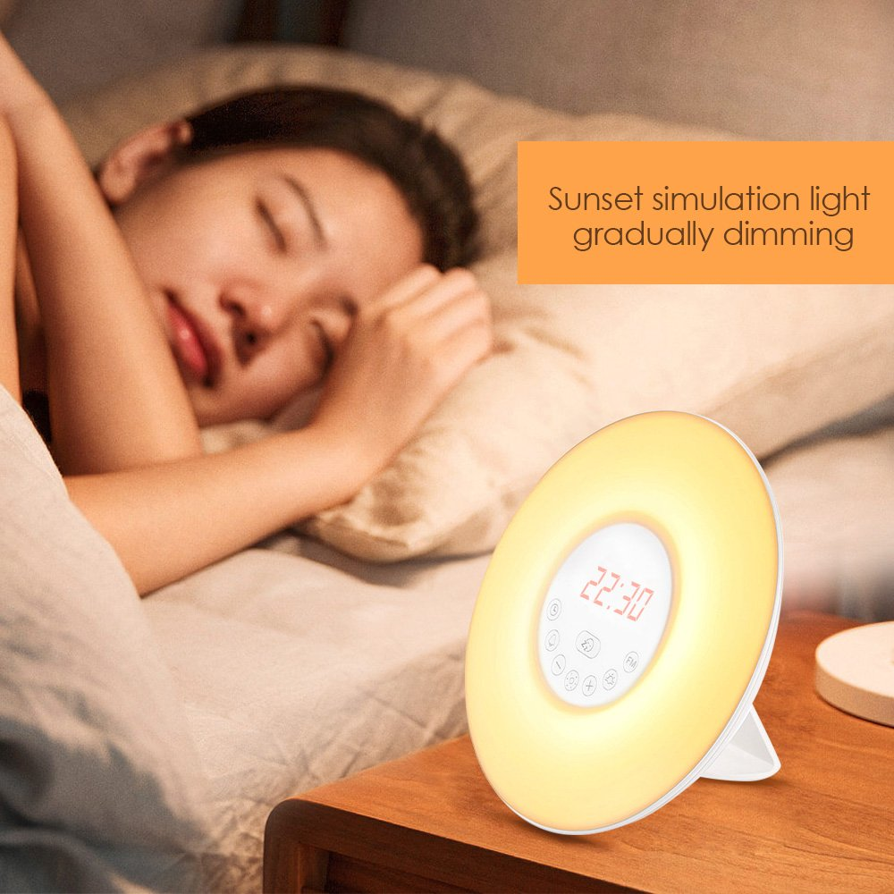 FM Radio Touch Control and USB Charger INLIFE Wake Up Light Alarm Clock Sunrise Simulation Dusk Fading Night Light with Nature Sounds