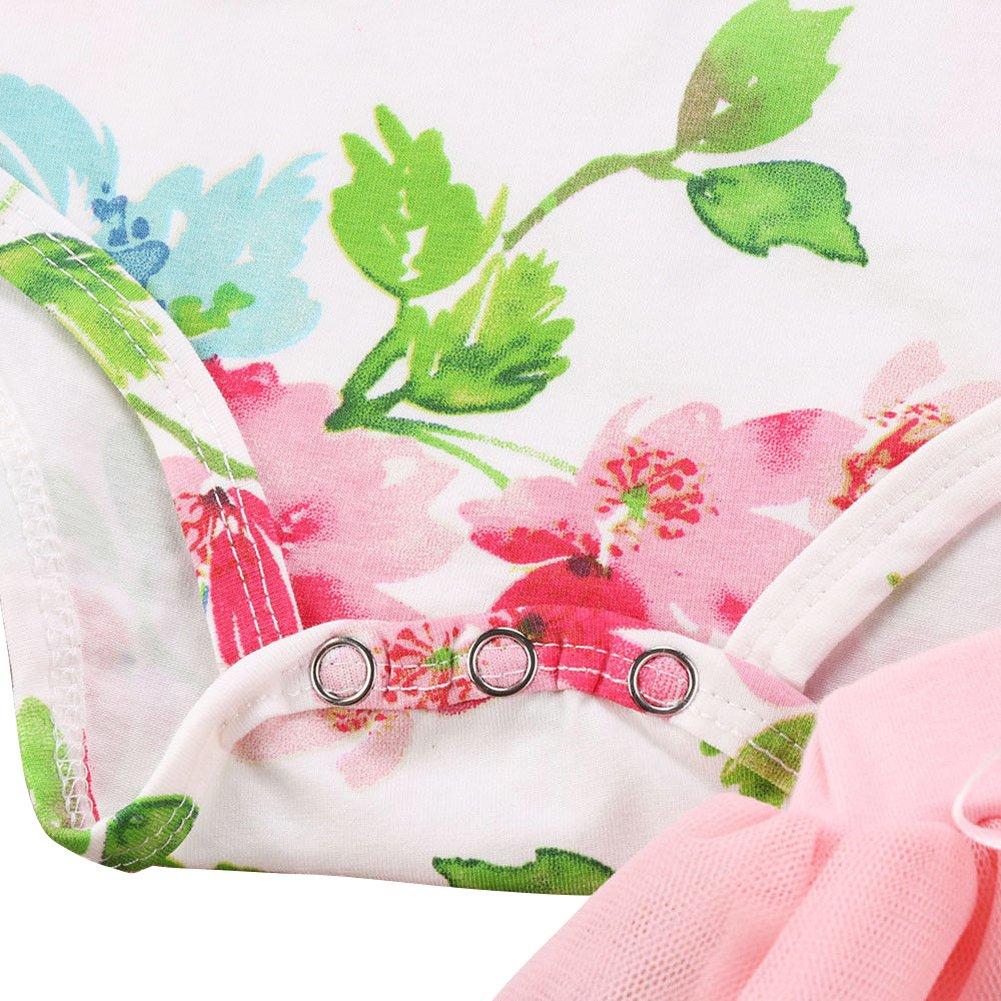 Tulle Skirt 2Pcs Cake Smash Set Baby Girls Tutu Dress 1st 2nd Birthday Outfits Sleeveless Bodysuit Floral Romper Top