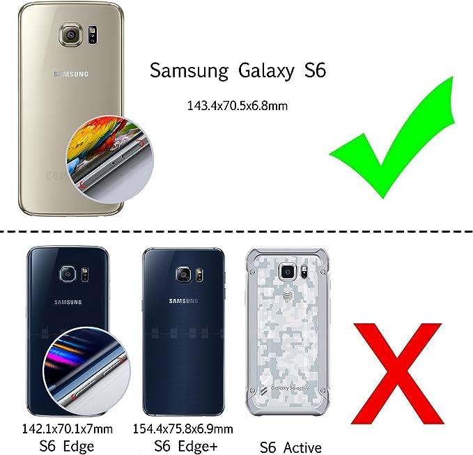 Funda para Cuerda Samsung Galaxy S6 Edge Oro Negro Carcasa Transparente de Correa Colgante Collar Ultrafino Ultraligero Moda Practico Silicona TPU Gel Case Anti-Choque Anti-rasgu/ños