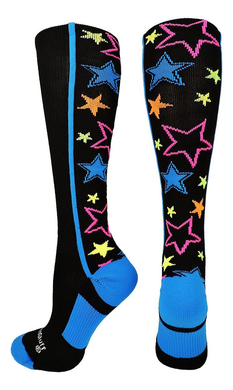 MadSportsStuff 靴下 クレイジーソックス ふくらはぎ一面の星 (選べるカラー) B074PL4921 Small|Multi-Neon/Black Multi-Neon/Black Small