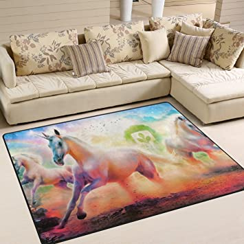 Amazon Com Imobaby Unicorn Rainbow Area Rugs For Living Room