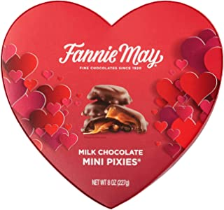 product image for Fannie May Valentines Day Mini Pixies, Milk Chocolate Covered Caramel with Pecans, Candy Gift Box, 8 oz